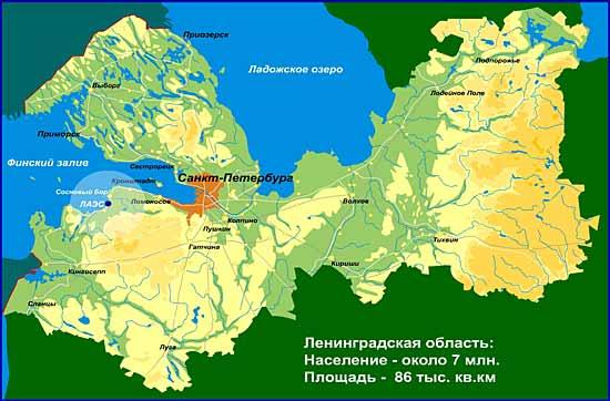 Mapa leningradské oblasti